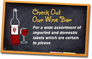 Check out our wine bar